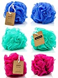 Eco-friendly Mesh Bath and Shower Sponge, (6-pack) - Loofah-loofa-loufa-luffa-pouf-poof