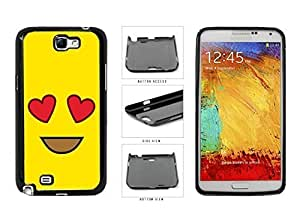 Bright Yellow Heart Eyes Smiley Face Plastic Phone Case Back Cover Samsung Galaxy Note II 2 N7100