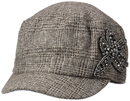 D&Y Women's Marled Houndstooth Cadet Hat with Embellished Flower Applique