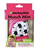 Munch Mitt Trendy Collection Teething Mitten- Original Mom Invented Teething Toy- Teether Stays on Babys Hand for Pain Relief- Ideal Baby Shower Gift with Handy Travel/Laundry Bag- 2 pk Pink Unicorn