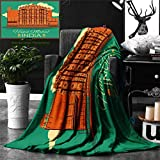 Ralahome Unique Custom Double Sides Print Flannel Blankets Indian Decor Vintage Poster Famous Monument Hawa Mahal In India Illustration Super Soft Blanketry Bed Couch, Throw Blanket 60 x 50 Inches