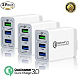 [3 pack]Galaxy S9 S8 S7 S6 Edge Plus Note 8 LG G2 G3 G4 Quick Charge 3.0 30W USB Charger with 3-Port USB for Samsung Adaptive Fast Charging for Up to 4x Faster Charging Premium Version (3 pack)
