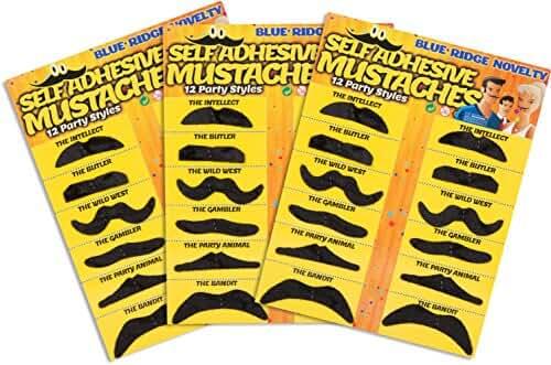 Self Adhesive Fake Mustache  Novelty - Set of 36 -  by Blue Ridge Novelty