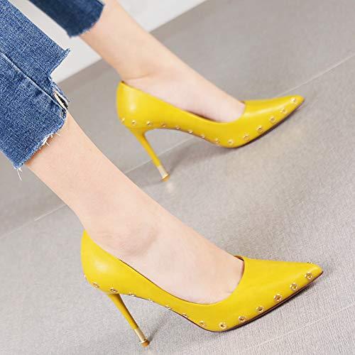 HRCxue Pumps Luftqualität Nieten Stiletto Stiletto Stiletto Heels Mode Spitze weiße einzelne Schuhe weiblich, 34, Orange 108fec