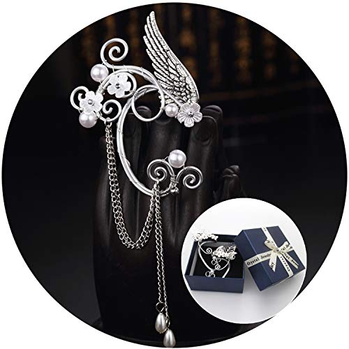 Elf Ear Cuffs, Handmade Clip on Earrings, Pearl Wing Tassel Filigree Elven Earrings for Women Girls, Fantasy Fairy Halloween Costume, Cosplay, Wedding, -
