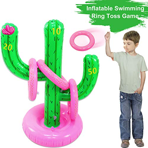 AMENON Inflatable Ring Toss Game, Floating Swimming Cactus Ring Toss Water Toys Set for Pool Games for Kids Adult Indoor Outdoor Game Party Favors Decoration Supplies Kids Game Toy Gifts (Cactus)