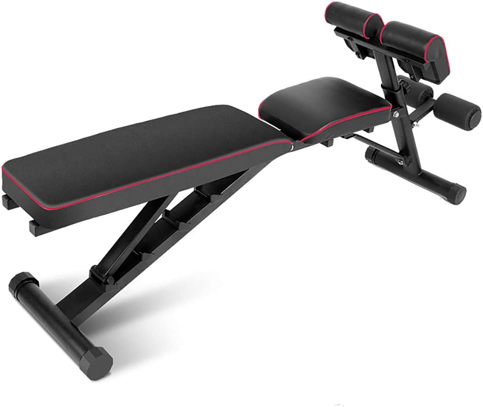 DlandHome Home Gym Adjustable Bench Sit Up Incline Exercise Dumbbell Bench Height Adjustable Multi-Functional Strength Training Fitness Workout Station PSBB004