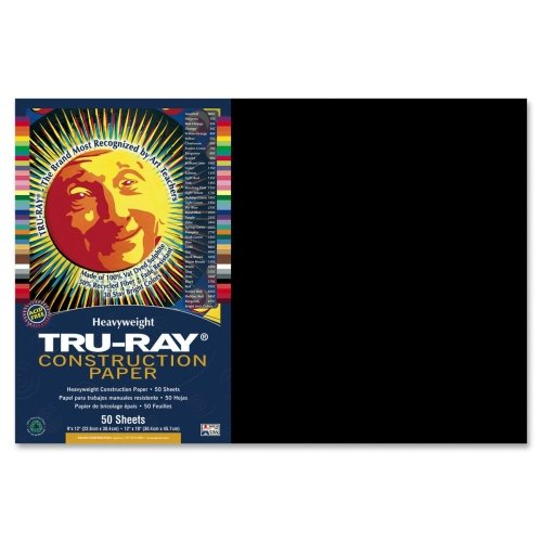 Wholesale CASE of 25 - Pacon Tru-Ray Heavyweight Construction Paper-Construction Paper,76 lb.,12''x18'',50/PK,Black by PAC