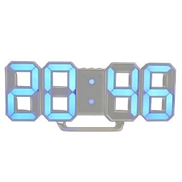 Morza 3D LED de Alarma del Reloj electrónico Luminoso Digital USB Reloj de Pared de energía Dígitos Muy Visible: Amazon.es: Hogar