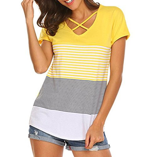 CUCUHAM Women Ladies Stripe Splice T-Shirt Short Sleeve Casual Tops Blouse(XX-Large,Yellow
