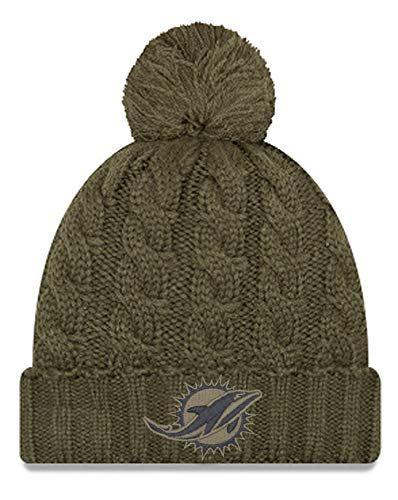 New Era Women 2018 Salute to Service Sideline Cuffed Knit Hat ? Olive (Miami Dolphins) (Miami Dolphins Salute To Service Hat Mens)