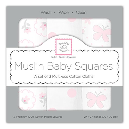 SwaddleDesigns Cotton Muslin Squares, Set of 3, Pastel Pink Butterfly Fun