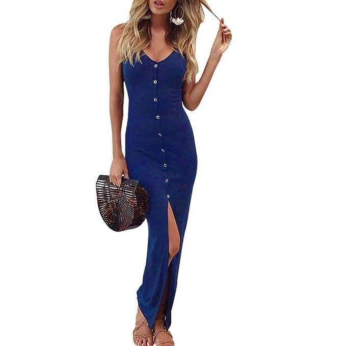 Vestidos Verano Mujer Elegantes Sleeveless V-Cuello Maxi Vestido Espalda Descubierta Sin Tirantes Vestido Playa Color Sólido Basic Vestidos Off Shoulder ...