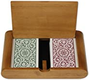 Copag Wooden Box Set with 1546 GB Jumbo Index and Narrow Bridge Size 100% Plastic Playing Cards