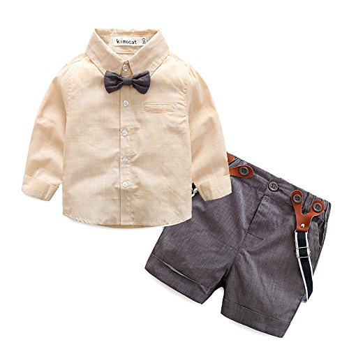 Kimocat Baby Boy Shirt and Tie Sets Long Sleeve Woven Top+ Bowknot+ Shorts With Suspender Straps Outfits (18-24month, (Baby Boy Dress Outfit)