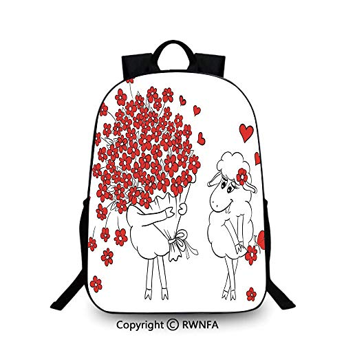 Motifs School Bag Travel Daypack,Lover Goats Bunch of Heart Bouquet Valentines Honeymoon Wedding Caricature Graphic Travel College School Bags Red White ()