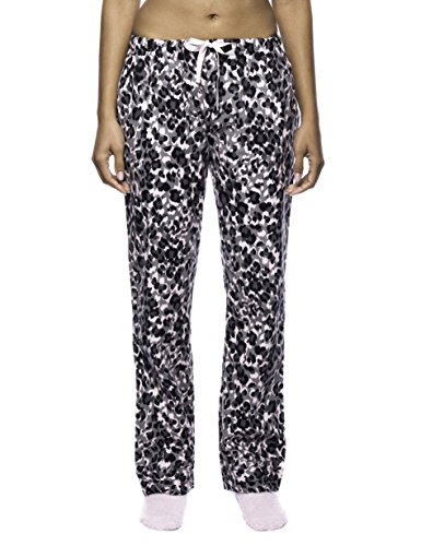 Noble Mount Women's Premium Flannel Lounge Pant - Leopard Pink/Grey - XS (Leopard Pants Lounge)