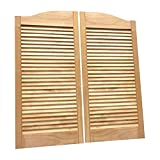 "Cafe Doors by Cafe Doors Emporium | Alder Wood Louvered Cafe Doors | Unfinished Hardwood from Managed Forestry | Prefit for 30""W Finished Opening 
