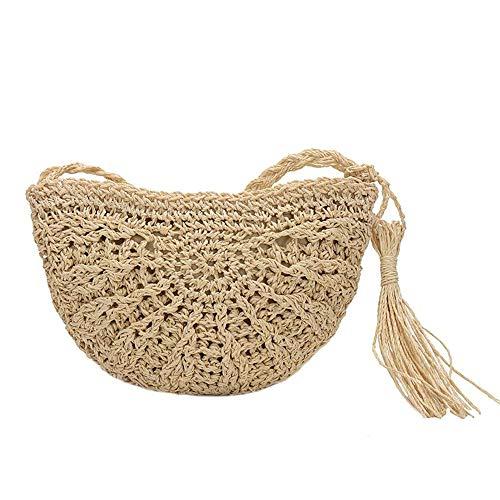 (Olyphy Retro Crossbody Bag for Women, Woven Straw bag Envelope Shoulder Bag Handbag Summer Beach Purse (BEIGE))