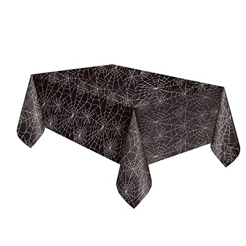 Unique Spiderweb Table Cover Party Decor | Rectangular Plastic Table Skirt | Great for Haunted Mansion and Halloween Party -