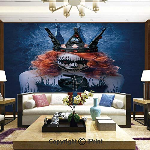 (Lionpapa_mural Removable Wall Mural Ideal to Decorate Your Living Room,Queen of Death Scary Body Art Halloween Evil Face Bizarre Make Up Zombie,Home Decor - 66x96)