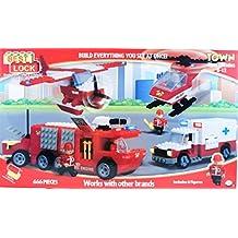 Best Lock 666 Piece Construction Building Block Emergency Vehicle Town