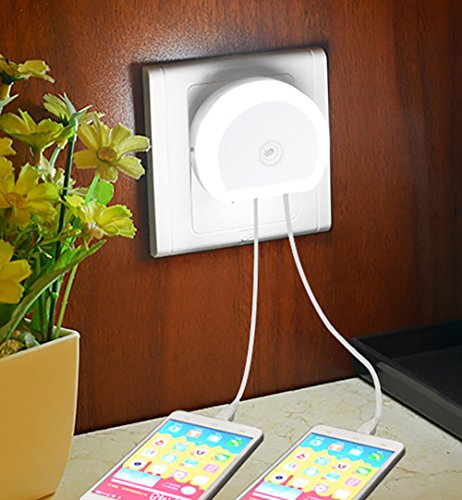 4Pack - Plug-in LED Night light with Dual USB Charging Port - Baby Nursely Night Light - Unique Wall Lamp Best For Travel and Kids Adults Bedroom