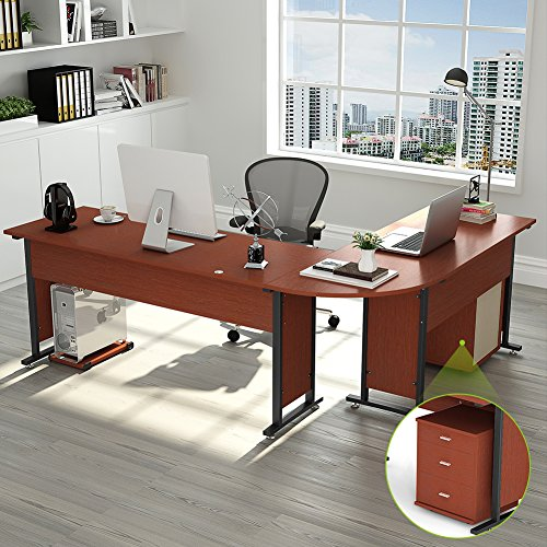 "Cherry L-shape Desk (87"" Tribesigns Largest Modern L-Shaped Desk with Return and Mobile File Cabinet, Corner Computer Desk Study Table Workstation for Home Office Wood & Metal with Drawers, Cherry)"