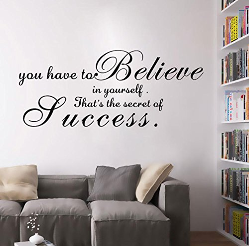19 Wall Sticker - BIBITIME English Sayings Quotes You have to believe in yourself That's the secret of Success Vinyl Wall Sticker 19