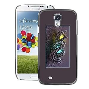 A-type Arte & diseño plástico duro Fundas Cover Cubre Hard Case Cover para Samsung Galaxy S4 (Dragon Lights Mysterious Yellow Blue)
