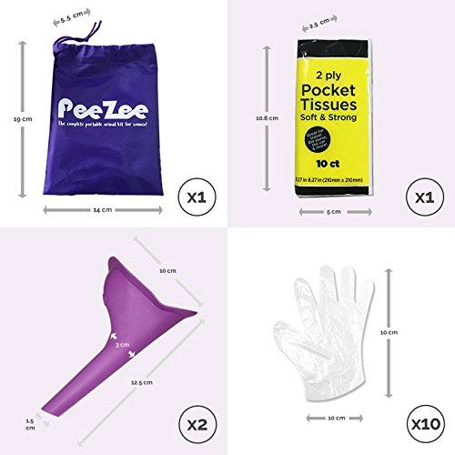 Frauen Urinal Pinkelhilfe Unterwegs Kit für Festivals / Reisen Outdoor - Enthält wasserdichten Urinbeutel, 2 x Urin-Trichter, 1 x Packung der Taschentücher & Hygienische Einweghandschuhe/ Urinella/ Pi