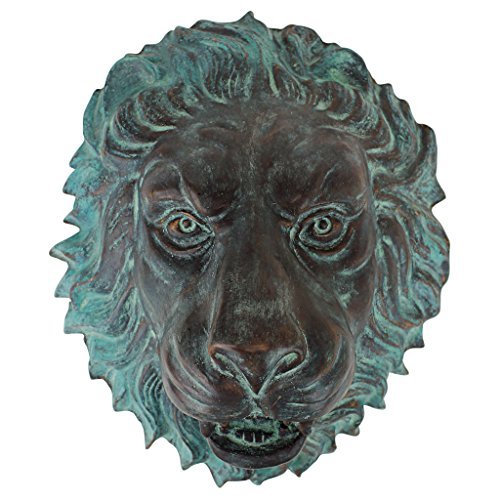 Design Toscano Florentine Lion Head Spouting Bronze Garden Wall Sculpture For Sale