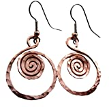 Elaments Design Solid Copper Earrings Rising Sunset Design 1.25 Inch Dangle Hand Hammered