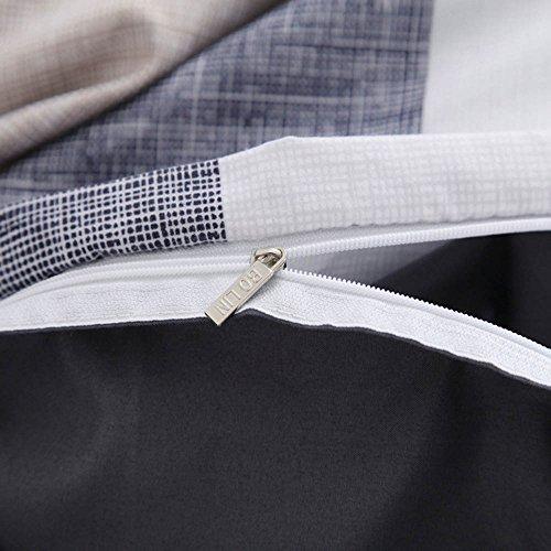 GladsBuy Gray and White Plaid Duvet Cover Pillowcase Flat Sheet 4pcs Sheet Set Twin Lightweight Soft Comfortable Durable Print Bedding Set BL014