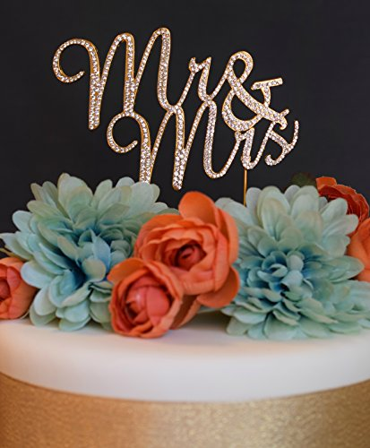 Mr & Mrs Wedding or Anniversary Cake Topper Premium Rhinestone Decoration (Gold)