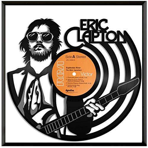 VinylShopUS - Eric Clapton Vinyl Wall Art Framed Retro Musicians | Cool Gift Ideas for Men Women | Home Room Decoration Decor