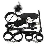 10Pcs Sex Leather BDSM Bondage Set Slave Mouth Gag Nipple Clamps Handcuffs Eye Mask Sex Flirt Adult Games Restraint for Couples Black