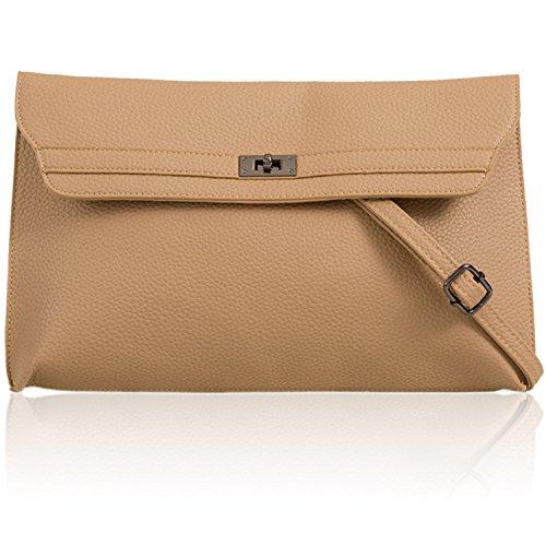 Khaki Xardi Shoulder Prom Ladies Large Bags UK Clutch Strap Flat Faux Evening Women London Leather 6w6IPrqp