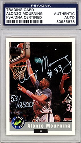 Alonzo Mourning Autographed 1992 Classic Draft Picks Rookie Card #2 Georgetown Hoyas PSA/DNA Stock # (1992 Classic Draft Picks)
