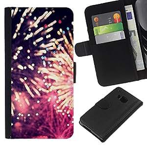 [Neutron-Star] Modelo colorido cuero de la carpeta del tirón del caso cubierta piel Holster Funda protecció Para HTC One M9 [Fireworks 4'Th Independence Day July]