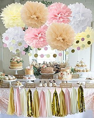 Kit de decoración, guirnaldas de círculos, flecos y flores, papel ...