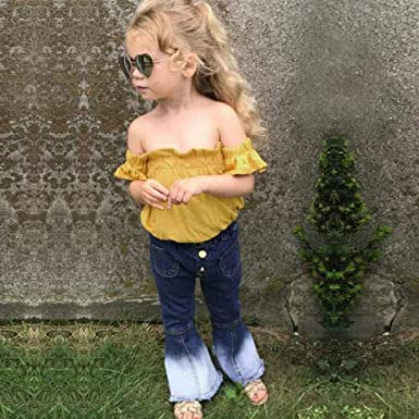BABISFLY 1-6T Toddler Girls Flare Pants Outfit Off Shoulder Ruffle Dot Top /& Bell Bottom Jeans Set 2Pcs Baby Summer Clothes