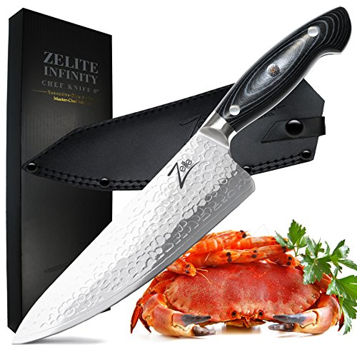 ZELITE INFINITY Chef Knife 8 Inch >> Executive-Plus Master Chefs Edition >> Best Quality Japanese AUS10 Super Steel 45 Layer Damascus, STORM-X Finish, B/G G10 Handle, Ultra-Deep 56mm Chef's Blade - Executive Chefs Set