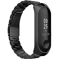 GeeRic XiaoMi Mi Band 3 Correa, XiaoMi Mi Band 3 Watch Band de Acero Inoxidable Banda Reemplazo Tres Hebilla de Cuentas Diseño Correa para XiaoMi Mi Band 3 - Negro