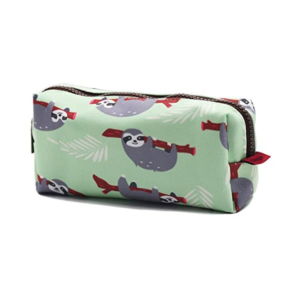 Lparkin Sloth Students Super Large Capacity Canvas Pencil Case Pen Bag Pouch Stationary Case Makeup Cosmetic Bag (Green) -