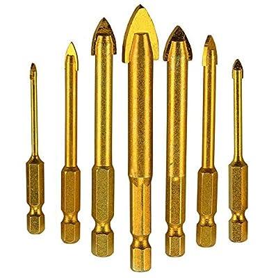 """Muye 7Pcs Glass Drill Bit Set 1/4"""" Hex Shank Titanium Plated Triangle Glass Drill Spear Head Drill Bits Drill For Ceramic 3/4/6/8/10/12mm"""