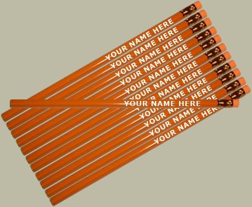 ezpencils - Personalized Orange Hexagon Pencils - 12 pkg - ** FREE PERZONALIZATION ()