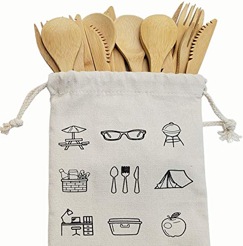 Bamboo Cutlery Set – New18-Pieces Bamboo Flatware Knives, Fork, & Spoons for Picnic, Hiking, Travel or Party Reusable…