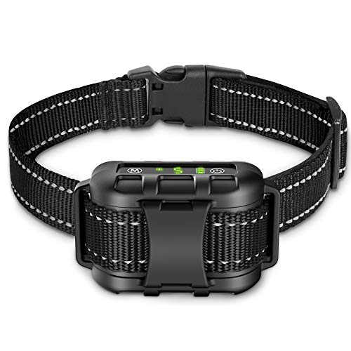 Dog Bark Collar – Rechargeable Shock Collar for Dogs in Medium and Large Sizes, No Barking Collar with 5 Adjustable…