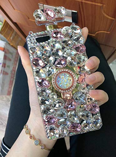 Losin Perfume Bottle Case Compatible with Apple iPhone Xs Max Case Luxury Bling Diamond Gemstone Perfume Bottle 3D Bling Rhinestones Ring Holder Stand Bracket Soft TPU Case
